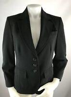 Les Copaines 44 Women's Blazer Jacket Suit Coat Black Career 3 Button