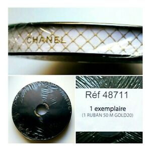 New Sealed Chanel white & gold lettering gift wrap decor ribbon~50m~ LE 2020