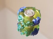 LIME GREEN GARLAND - Murano Glass Silver Plated Core Charm Bead