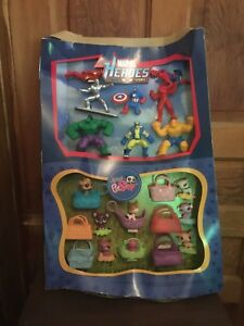 2010 McDonalds Marvel Heroes and Littlest Pet Shop Happy Meal Toy Display