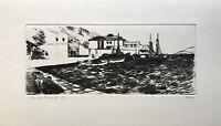 Karl Adser 1912-1995 Bateaux de Pêche Dans Port Leros Côte Mer Grèce