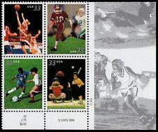 USA Sc. 3402a 33c Youth Team Sports 2000 MNH plate block