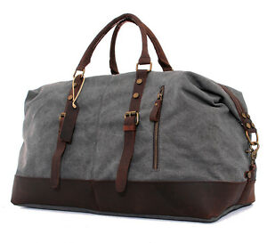 """22""""Men's Large Leather Canvas Lightweight Luggage Bags Weekend Overnight Duffle"""