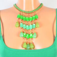 Designer Kette Halskette Farbe Gold Grün Statement Collier Blogger Steine