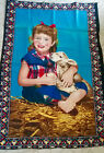 """Vintage 50 x 33"""" A.T.C. HAPPY GIRL WITH BABY LAMB 100% Cotton TAPESTRY Turkey"""