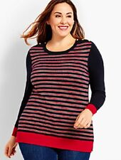 Talbots Women's Plus Size 3x Navy/red/silver Stripe Sparkle Sweater