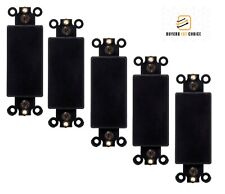 5 Pcs 1-Gang Blank Decora Filler Insert Wall Plate Cover Plastic Smooth Black