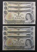 1973 Canada Crow Bouey BC-46b $1.00 Banknote 2 Lots Of 3 Consecutive ALR EAW
