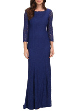 Adrianna Papell Womens Prussian Scalloped Lace Gown Dress Sz 14 3533