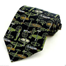 War Planes Mens Necktie Bomber Pilot Compass Airplane Black Gift Neck Tie New