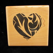 Paper Inspirations Large Leafy Heart Silhouette Woodcut Rubber Stamp FF 7032
