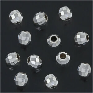 100 Sterling Silver Faceted Round Disco Spacer Beads 3mm #51250