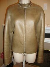 GORGEOUS TAUPE SHEARLING & LEATHER JACKET BY BURBERRY PRORSUM