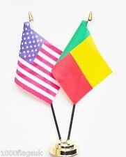 United States of America & Benin Double Friendship Table Flag Set