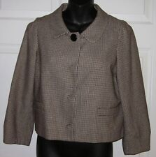 Banana Republic Brown & Black Virgin Wool & Cotton Jacket /Blazer 6 EUC