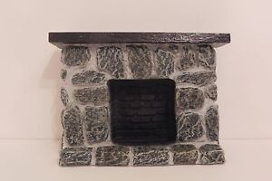 Fireplace Dollhouse Stone and Wood Look Resin 1:12 Scale Miniature Diorama