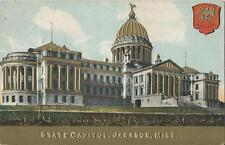 Postcard Mississippi Ms Jackson State Capitol Embossed State Seal 1911