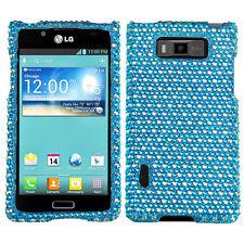 LG Optimus Showtime Crystal Diamond BLING Hard Case Phone Cover Blue Dots