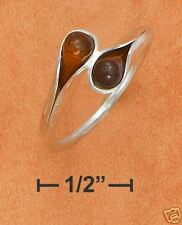 STERLING SILVER HONEY AMBER TEARDROP BYPASS RING
