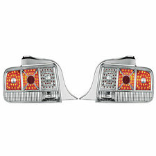 FOR 05-09 FORD MUSTANG CHROME HOUSING DIAMOND CUT LED LOOK TAIL BRAKE LAMP LIGHT