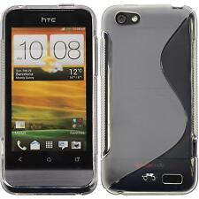 Silicone Case HTC One V S-Style transparent + protective foils