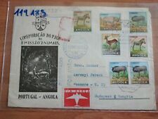 1963 Portugal Angola 7 stamps animal set on Air Mail to Budapest (1)