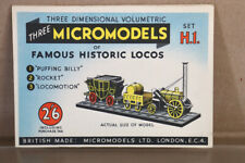 MICROMODELS H1 PUFFING BILLY STEPHENSON'S ROCKET LOCOMOTIVE & COACH CARD KIT ny