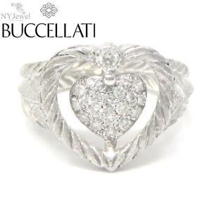 NYJEWEL Buccellati 18k White Gold Diamond Heart Ring