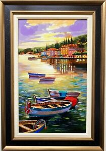 """Anatoly Metlan """"Boats in Twilight"""" Framed Hand Signed & # Embellished Art  Italy"""
