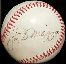 1980 JOE DIMAGGIO Single Signed Baseball New York Yankees Team vtg Auto 80s