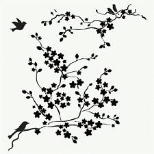 BIRDS STENCIL BIRD CHERRY BLOSSOMS FLOWERS STENCILS TEMPLATE PAINT NEW BY TCW