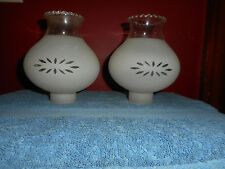 Vintage Glass Wall Sconce Light Shades (2) Frosted Hurricane Lace Ribbon Tops