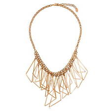 BERRICLE Rose Gold-Tone Triangle Fashion Bib Statement Necklace