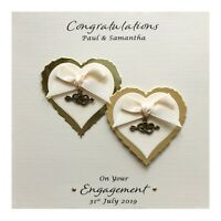 Personalised Engagement Card Heart Charms