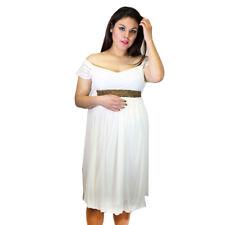White Wedding Maternity Dress Baby Bead Brown Handmade Pregnancy Dress