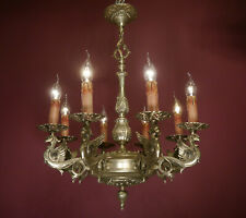 "DANGEROUS DRAGON NICKEL CHANDELIER SILVER CEILING LAMP 8 LIGHTS Ø 22"" OLD DECOR"