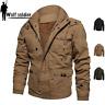 Men Winter Thermal Fleece Jacket Cargo Multi Pockets Jackets Casual Cotton Coats