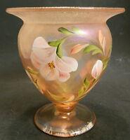 Vintage Fenton Pink Iridescent HAND PAINTED Signed Pedestal Glass Bowl / Vase