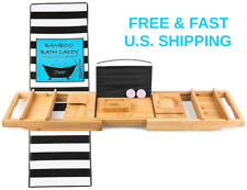 TUB CADDY Bamboo Bathtub Tray Organizer + Soap Tray Lavender Bath-Bomb FOR FREE