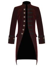 Mens Steam punk Vintage Tailcoat Jacket Velvet Gothic Victorian Red Frock Coat