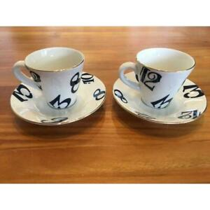 FRANCK MULLER Pair of Espresso Cup & Saucer in Box New