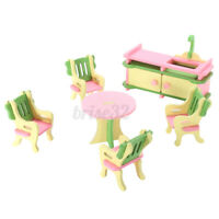 6Pcs Set Wood Kitchen Dining Table Chair DollHouse Miniature Furniture Kids Toy