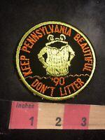 Vtg 1990 Talking Trash Can Keep Pennsylvania Beautiful Patch Don't Litter C94R