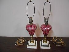 PAIR OF VINTAGE ELECTRIC CRANBERRY TABLE LAMPS
