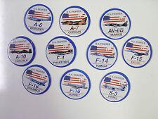 U.S. FIGHTER JETS/PLANES A-6, A-7, AV-8B, A-10   POGS/MILKCAPS SET OF ALL (10)