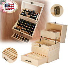 Essential Case Wooden Storage Box  Multi Tray Carry Aromatherapy Organizer Stock