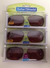 6 SOLAR SHIELD Clip-on Polarized Sunglasses Size 52 Rec 1 Brown Lens Full Frame