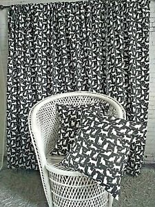 Cotton Black White Cats Animals Teens Kids Bedroom Light Curtains No Lining