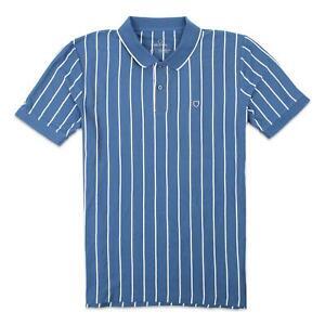 Brixton Mens Proper Vertical Tailored Knit Polo Joe Blue White M New