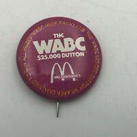 "1970's WABC McDonalds Promo Advertising 1-1/4"" Button Pin Pinback Vintage  R7"